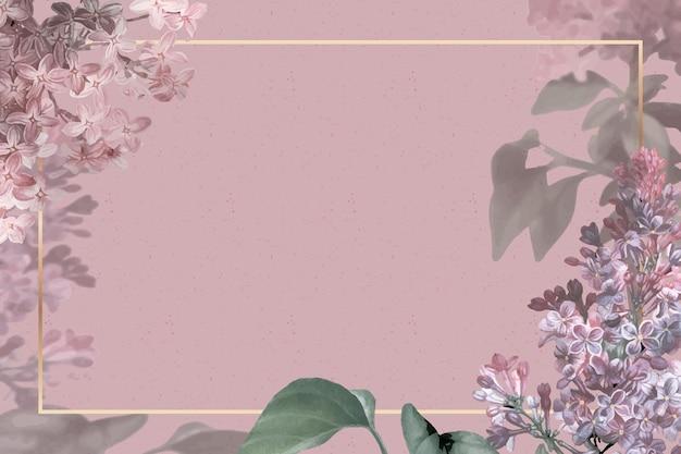 ピンクの背景にライラックのボーダーと結婚式のフレーム