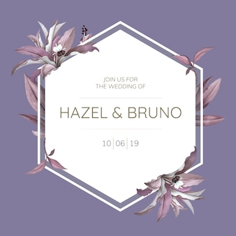 Wedding frame with purple leaves design vector