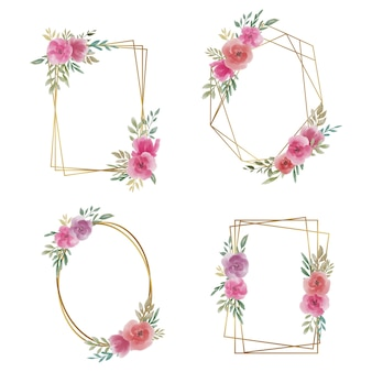 Wedding frame with watercolor flower decoration and gold border