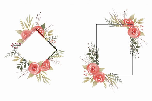 Wedding frame with watercolor rose
