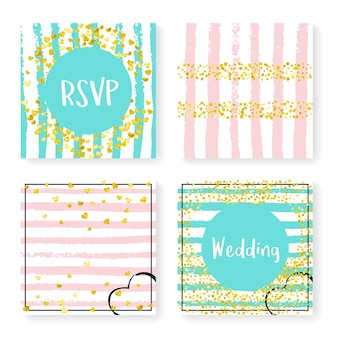 Wedding glitter confetti on stripes. invitation set. gold hearts and dots on pink and mint background. design with wedding glitter for party, event, bridal shower, save the date card.