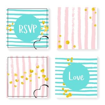Wedding glitter confetti on stripes, invitation set