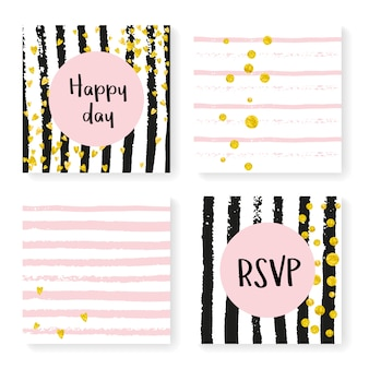 Wedding glitter confetti on stripes, invitation set