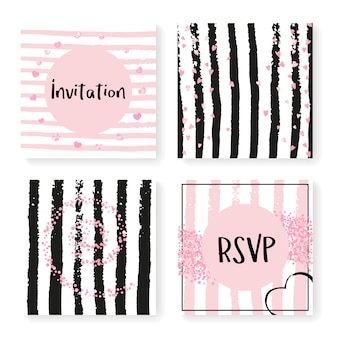 Wedding glitter confetti on stripes, invitation template
