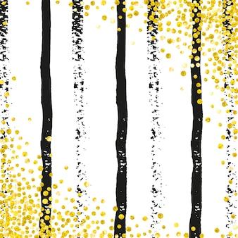 검은 줄무늬에 점이 있는 웨딩 반짝이 색종이 조각. 메탈릭 쉬머와 반짝임이 있는 스팽글. 파티 초대장, 배너, 인사말 카드, 브라이덜 샤워를 위한 골드 웨딩 반짝이로 디자인합니다.