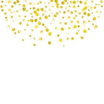 고립 된 배경에 점이 있는 웨딩 반짝이 색종이. 쉬머와 반짝임이 떨어지는 스팽글. 인사말 카드, 브라이덜 샤워를 위한 골드 웨딩 글리터로 디자인하고 날짜 초대를 저장합니다.