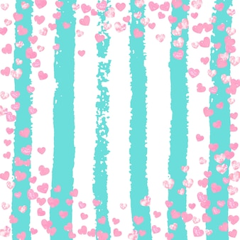 Wedding glitter confetti with heart on turquoise stripe. falling sequins with metallic shimmer. design with pink wedding glitter for party invitation, banner, greeting card, bridal shower.