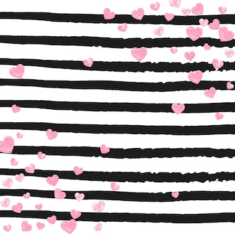 Wedding glitter confetti with hearts on black stripes. sequins with metallic shimmer and sparkles. design with pink wedding glitter for party invitation, banner, greeting card, bridal shower.
