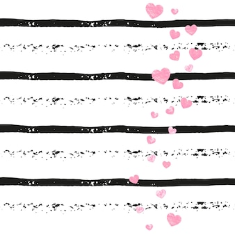 Wedding glitter confetti with hearts on black stripes. sequins with metallic shimmer and sparkles.