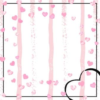 핑크 줄무늬에 마음으로 웨딩 반짝이 색종이. 금속 반짝임이 있는 반짝이는 임의의 스팽글. 인사말 카드, 브라이덜 샤워를 위한 분홍색 웨딩 글리터로 디자인하고 날짜 초대를 저장합니다.