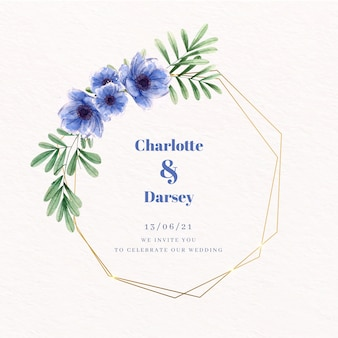結婚式の黄金の花のフレームの青い花