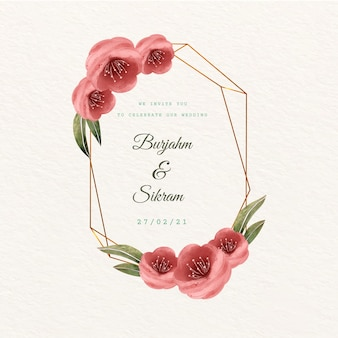 Wedding golden floral frame red flowers