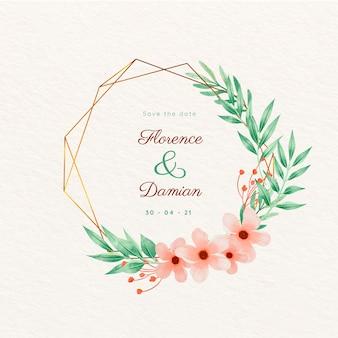 結婚式の黄金の花のフレームは、日付を保存します