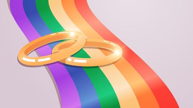 Wedding golden rings on rainbow flag transgender love lgbt community tolerance freedom concept horizontal vector illustration