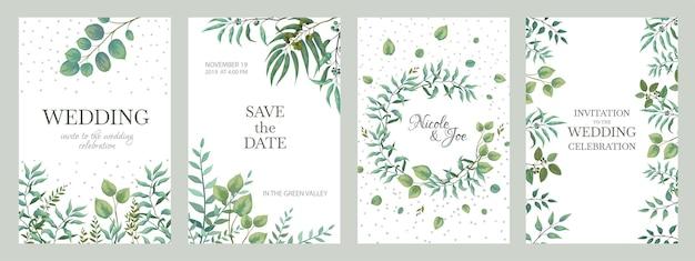結婚式の緑のポスター。エレガントな花柄のフレーム、枝や葉の素朴なヴィンテージのボーダー。白い背景の上のミニマルなデザインのトレンディなエレガンスファッションの招待状をベクトルします。
