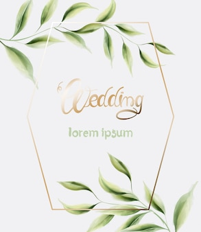 Wedding greeting card with frame and leaves