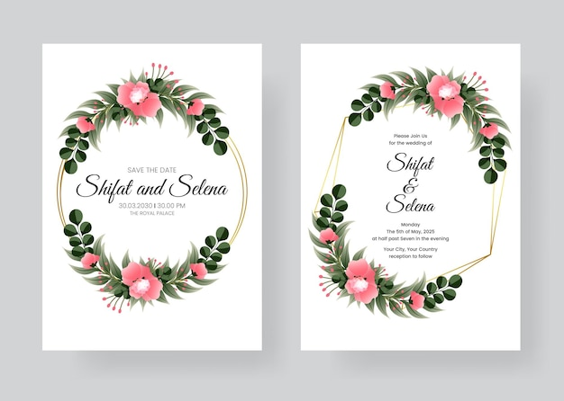 Wedding hand drawing watercolor invitation