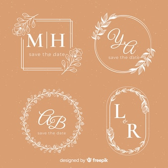 Wedding hand drawn floral logo template