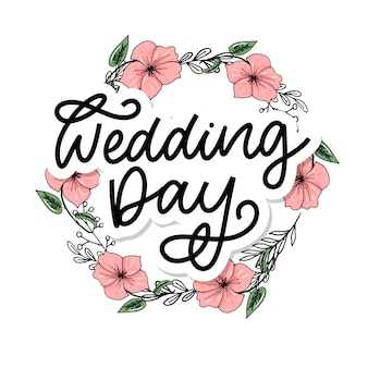 Wedding hand lettering sign calligraphy text brush slogan