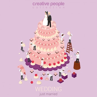 Wedding holiday event organization service confectionery business concept cake cream little bakers confectioners flat isometric  .