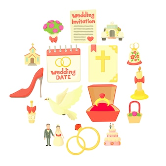 Wedding icon set, cartoon style