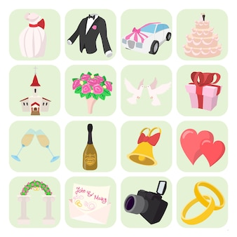 Wedding icons set in cartoon style