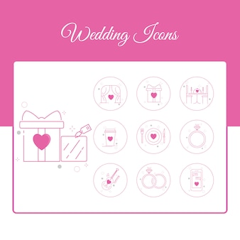 Wedding icons set with outline style