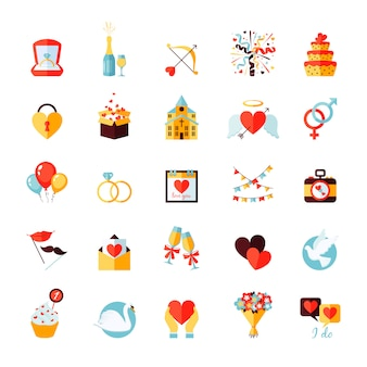 Wedding icons set