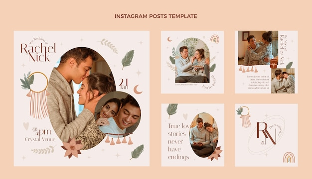 結婚式のigポストデザインテンプレート