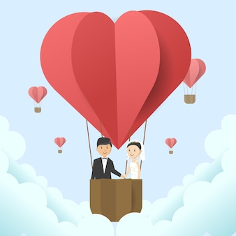Wedding illustration with hot air balloon hearth shaped