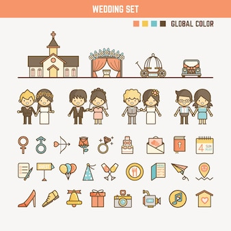 Wedding infographic elements for kid