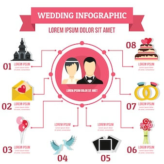Wedding infographic template, flat style