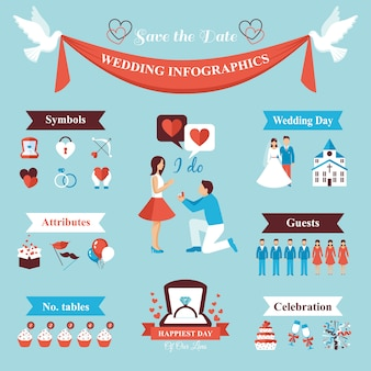 Wedding infographics set