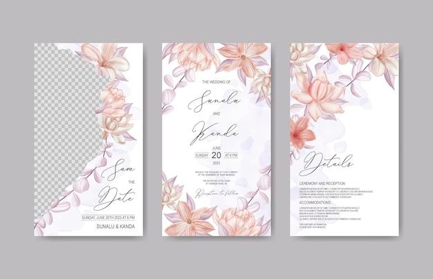 水彩花のフレームと結婚式のinstagramの物語のテンプレート Premiumベクター