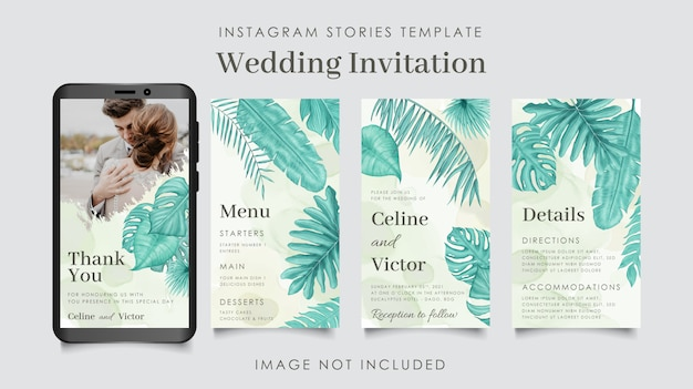 Wedding instagram stories template with watercolor leaves