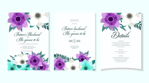 결혼식 초대장 추상 꽃 초대 감사 rsvp 현대 카드 디자인 벡터 우아한 꽃