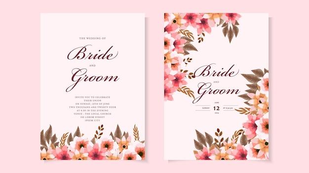 結婚式の招待状抽象的な花の招待状ありがとうrsvpモダンカード素朴なテンプレート
