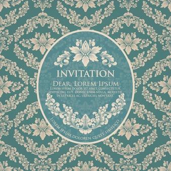 ビンテージデザインの結婚式の招待状とお知らせカードテンプレート