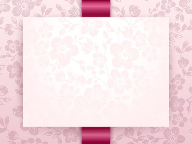 花の背景アートワークと結婚式の招待状とアナウンスカード