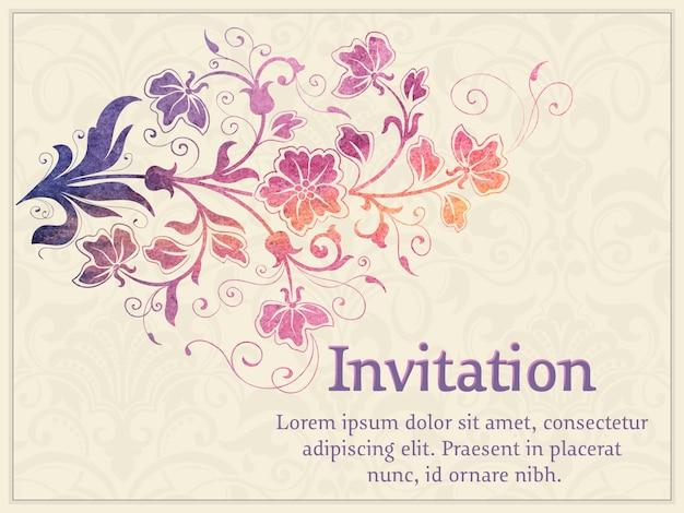 청첩장 및 꽃 배경 작품 발표 카드
