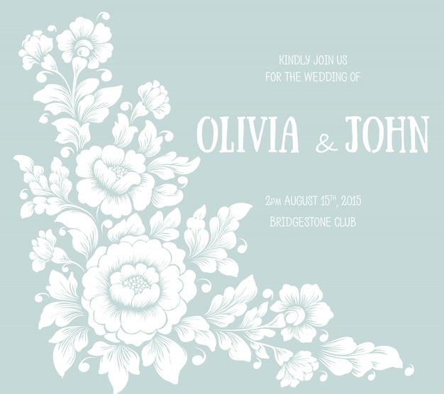 花のデザインの結婚式の招待状とお知らせカード