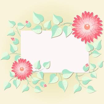 結婚式の招待状と花の要素を持つ発表カード。エレガントな花の要素は、テキストのフレームを構成します。繊細な花の要素。デザインテンプレート。 無料ベクター