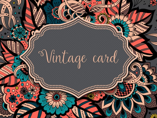아라비아 스타일에서 장식 청첩장 및 발표 카드. 당초 무늬.