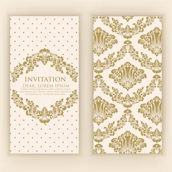 ヴィンテージのアートワークと結婚式の招待状とお知らせカード