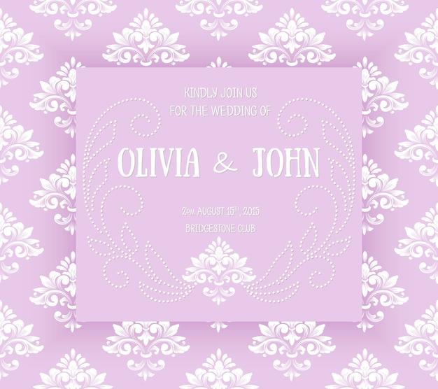 ヴィンテージのアートワークと結婚式の招待状とアナウンスカード