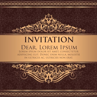 wedding invitation and announcement card with vintage background artwork elegant ornate damask background elegant