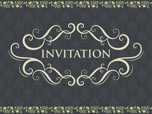 結婚式の招待状とビンテージの背景アートワークと発表カード。エレガントで華やかなダマスクの背景。エレガントな花の抽象的な飾り。デザインテンプレート。