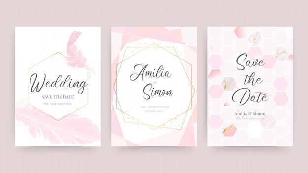 結婚式の招待状と美しい羽を持つカードデザインテンプレート。