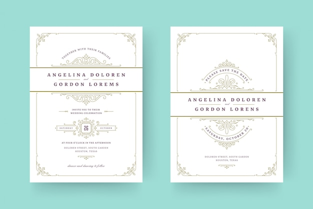 Приглашение на свадьбу и сохранение даты на карточках расцветает орнаментами виньетка с завитками.