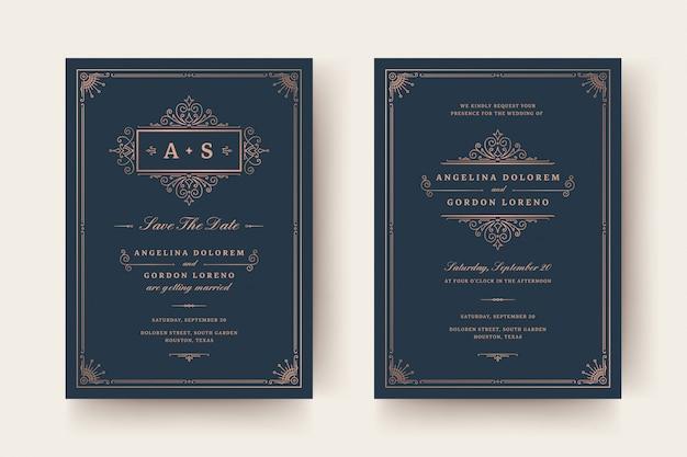 Приглашение на свадьбу и сохранить дату карты процветает украшения виньетки завитки.